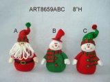 서 있는 Sana, 눈사람 및 꼬마요정 크리스마스 훈장 선물, 3 Asst