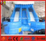 Double Lane Inflatable Blue Water Slide with Climbing