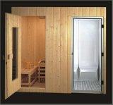 Sauna combinada vapor da madeira contínua com tamanho personalizado (AT-8606)