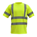 테이프를 가진 높은 시정 황색 안전 안녕 힘 t-셔츠