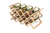 도매 14 병 싱크대 자연적인 나무로 되는 Foldable 포도주 선반