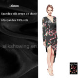 Tessuto di seta stampato seta dello Spandex di modo 16mm per la signora Dress