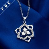 Collar cúbico plateado plata de la gota de los elementos de Zirconial de la flor de la manera