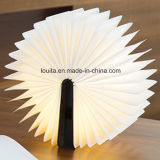 Customized Logo Flexible Wood Cover Lâmpada de mesa LED