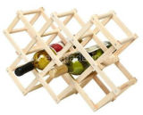 Madera plegable en forma de diamante de 10 botellas de vino Display Shelf Rack