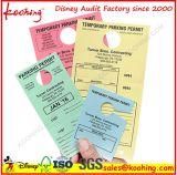 Печатание карточки бирки качания ярлыка бирки Hang стоянкы автомобилей автомобиля