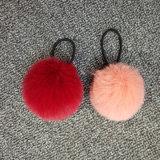 毛皮POM Keychainのハンドバッグの球ののどのウサギの毛皮POM