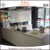 U-Form-Bauholz-Küche-Schrank mit 2 Satz-hohem Glanz-Ende