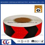 交通標識(C3500-AW)のためのPVC赤くおよび黒い反射矢テープ