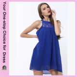 Los últimos diseños venden al por mayor a señora Chiffon Dress de la manera del collar simple moderno del cordón