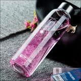 Bottiglia di acqua di vetro di bello disegno del fiore con la bottiglia di vetro di sport della tazza del regalo della corda