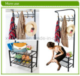 금속 Hat와 Coat Clothes Shoes 홀 Steel Pipe Stands Stand Rack Hangers Shelf