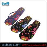 L'aise en caoutchouc occasionnel Flip Flops avec fleur de l'impression pour les femmes