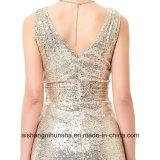 Doppio vestito da sera del V-Collo dell'oro dell'argento da sera dei Sequins di lusso del vestito