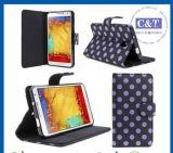 Monedero de cuero del caso del soporte para el Samsung Galaxy Note 3