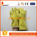 Желтые перчатки DHL303 домочадца латекса