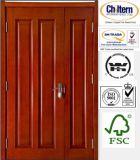 Puerta sólida / sólida puerta de madera / madera natural con 4 Diseño del panel