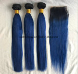 el color Ombre Afforable del 1b/27/Blonde/Purple/Grey tasa extensiones azules malasias del pelo de Ombre del grado 8A