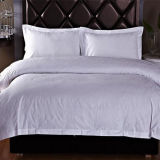100% algodão Jacquard Quality White Bed Sheet Hotel Bedding Set