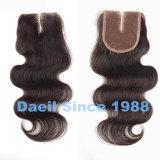 Chiusura diritta del merletto di capelli naturali cinesi