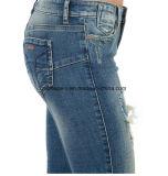 Atacado Mulheres Moda Roupas de alta qualidade Zipper Leg Ripped Jeans