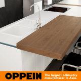 現代木の台所家具の島(OP16-L21)が付いている白いラッカーキャビネット