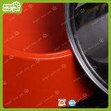 De rode Dubbele Kom van de Melamine met de Kom van het Roestvrij staal