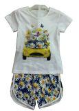 Vestiti dei bambini di fiore nel vestito dei capretti con la stampa in breve Sq-6674