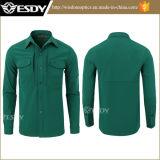 Ropa caliente del paño grueso y suave de la camisa a prueba de viento táctica verde oscuro de Softshell