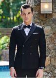 Terno de vestido Double-Breasted do preto do noivo de 2017 homens quentes