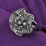 Оптовые цены в стиле ретро форму цветка черный Crystal кольцо