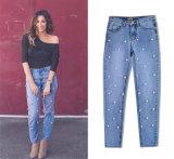 Senhoras moda jeans Skinny com cordões