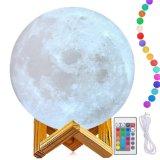 L'impression 3D de la Lune rechargeable Lampe de contrôle à distance Premium&Touch Luna Night Light 16 à gradation des couleurs RVB LED lampe de l'humeur avec montage en bois magnétique