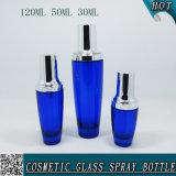 série cosmétique en verre vide bleue de bouteille de 120ml 50ml 30ml avec la pompe