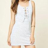 Дамы моды Strapless V-образный вырез горловины порванный жгут пробуксовки платье блуза