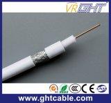 câble blanc de satellite du câble coaxial de liaison RG6 de PVC du Cu 18AWG
