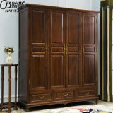 Garde-robe quatre en bois solide de type américain pour les meubles As842 de chambre à coucher