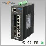 2개의 SFP Fx에 의하여 처리되는 산업 통신망 스위치를 가진 8 포트