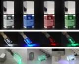Alta calidad de la insignia del laser Enrgaved de los vidrios 3D del mecanismo impulsor del flash del USB con memoria verdadera
