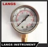 016 piezas de automóvil del calibrador de presión llenado líquido interno de cobre amarillo