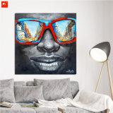 Olieverfschilderij van de Mens van de zonnebril het Afrikaanse Zwarte
