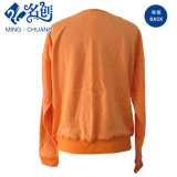 Orange lange Hülsen-rundes Muffen-Form-Dame-T-Shirt