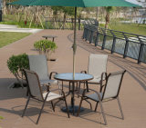 テラスの椅子(J800)を食事するアルミニウム屋外のホームホテルのオフィスの庭ガラスによってカスタマイズされるTextilene