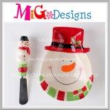Custom Handmade Christmas Gift Ceramic Snowman Snake Plate and Spreader Set