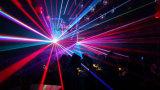 3 têtes de lumière laser couleur RVB éclairage de scène.