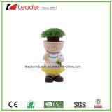 Polyresin New Lovely Girl Figurine com Flowerpots para Decoração de Jardim
