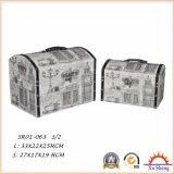 Коробка подарка коробки хранения чемодана античной мебели деревянная при напечатанная ткань
