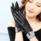 Gants noirs cachemire en cuir