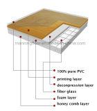 Крен пола PVC цвета клена крытый на картина 4.5mm баскетбольной площадки спортов деревянная