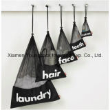 Grande sacchetto di nylon nero su ordinazione promozionale della lavata della lavanderia di corsa del Drawstring della maglia
